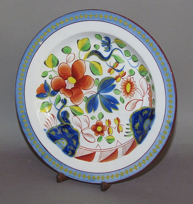 English pearlware Gaudy Dutch single rose plate