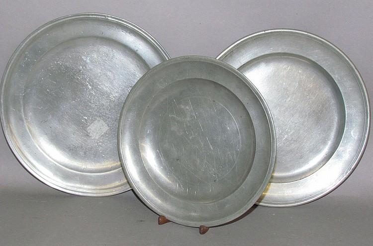 3 single reeded edge pewter plates