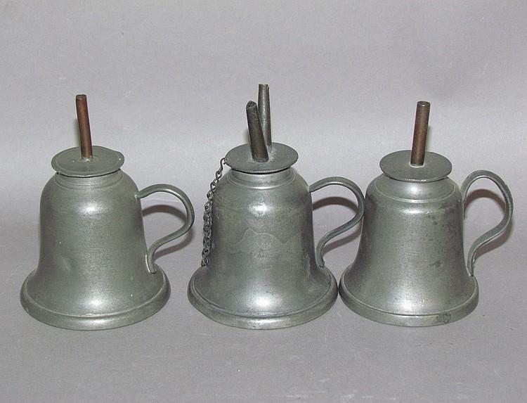 3 American standing pewter spirit lamps