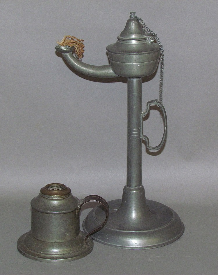 2 pewter standing lamps