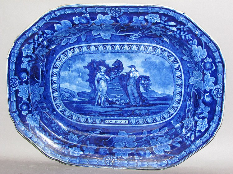 Scarce Historic Blue platter, Arms of New Jersey