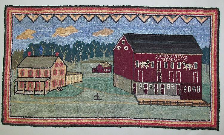 Farm scene hooked rug