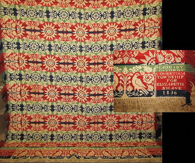 """Jacquard coverlet marked """"Made by C. Yordy Conestoga Township for Elizabeth Shank 1836"""