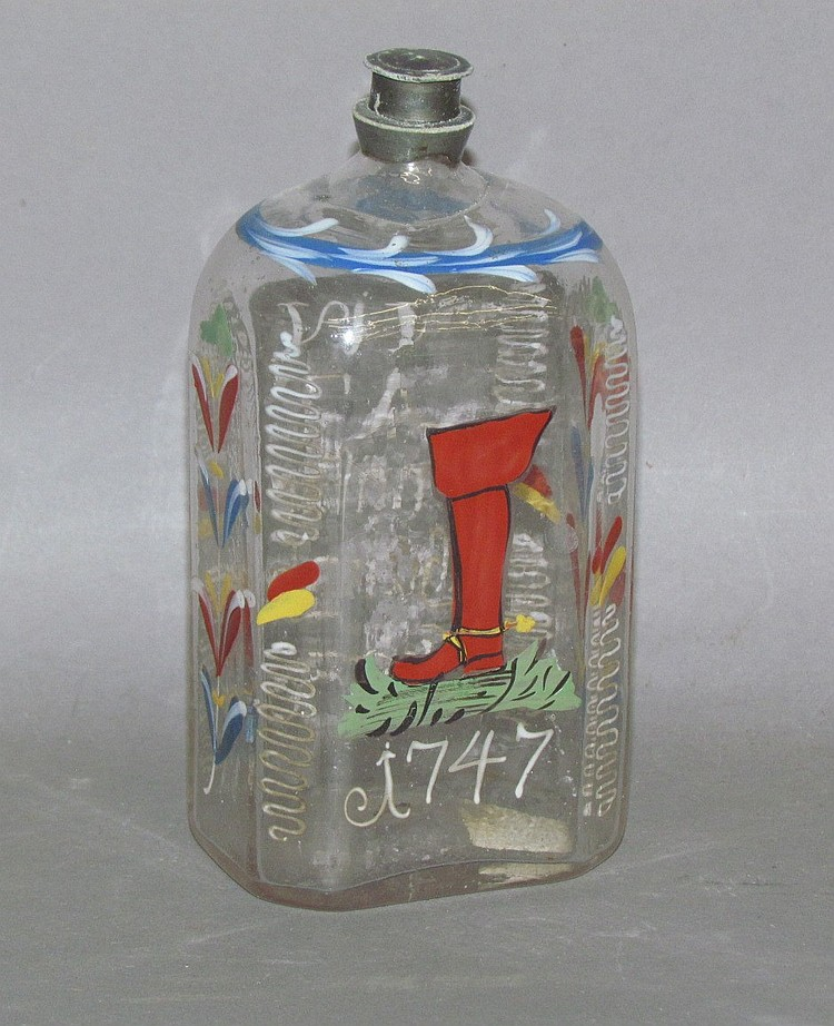 Stiegel type enameled colorless blown glass cologne bottle