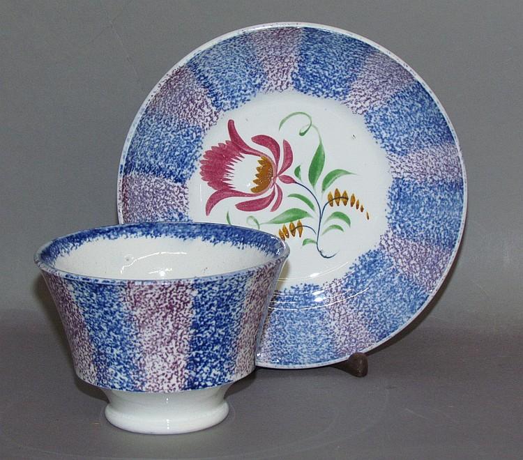 Unusual rainbow spatter handleless cup & saucer