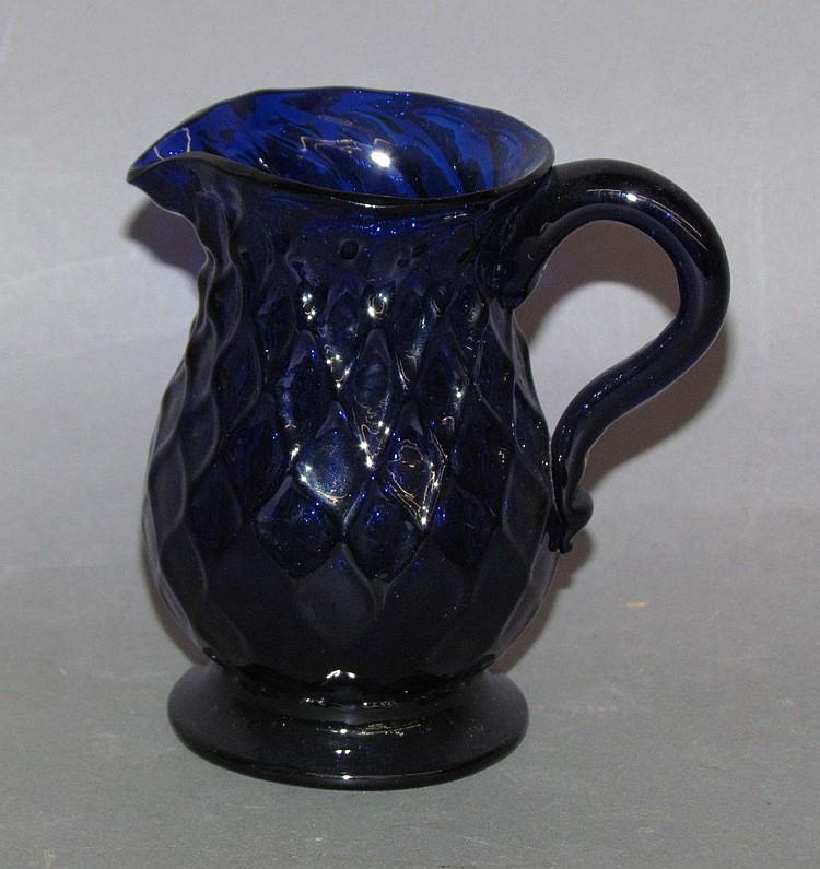 Blown cobalt glass Stiegel type creamer
