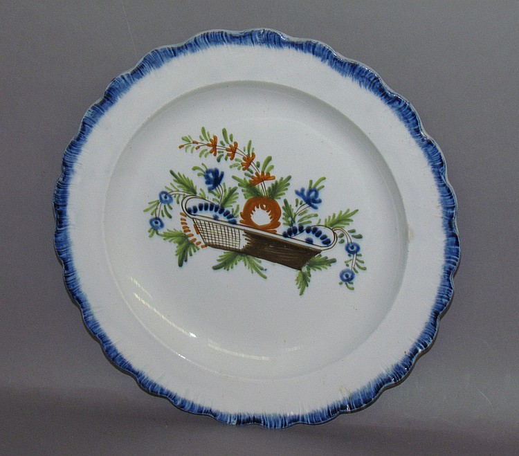 English pearlware blue shell edged plate with basket of flowers design