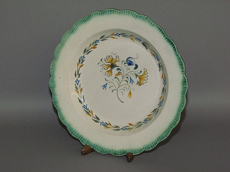 English creamware green shell edged plate with a multi-flowered stem design