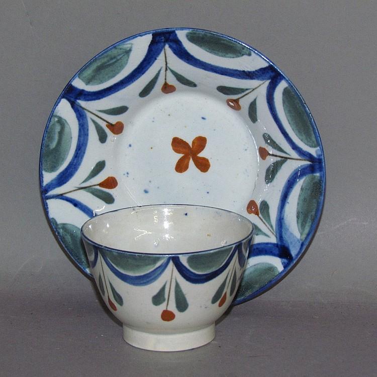 English pearlware child's handleless cup & saucer