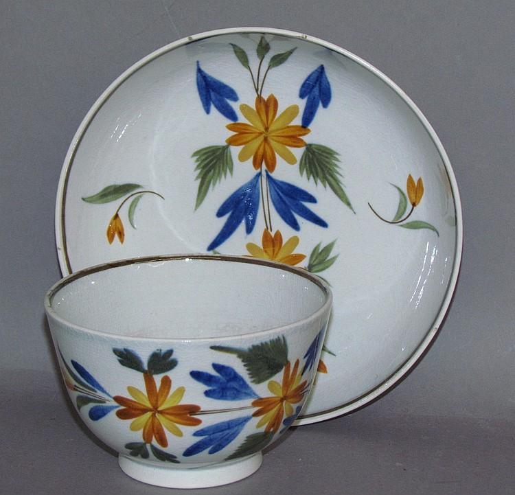 English pearlware handleless cup & saucer