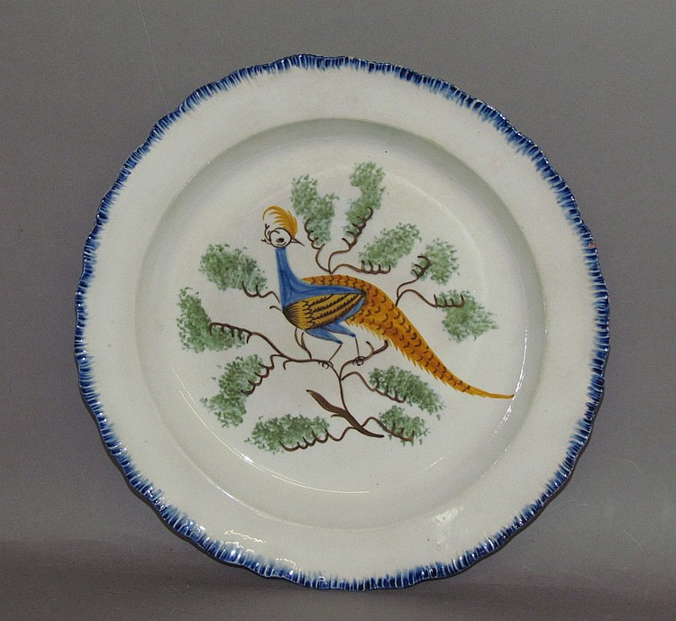 English pearlware peafowl in foliage, blue shell edged plate