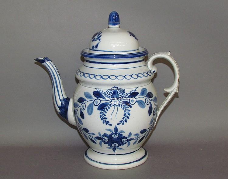 English pearlware dome top coffee pot