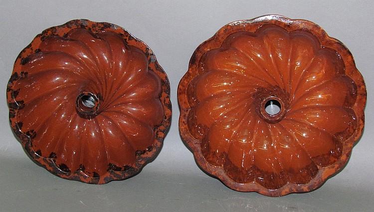2 PA redware Turkshead food molds