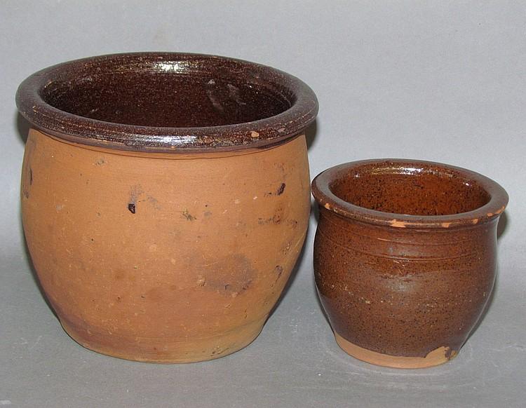 2 small PA redware crocks
