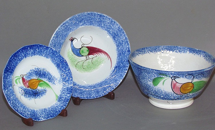 3 pieces of blue spatter earthenware