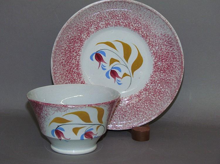 English earthenware handleless cup & saucer