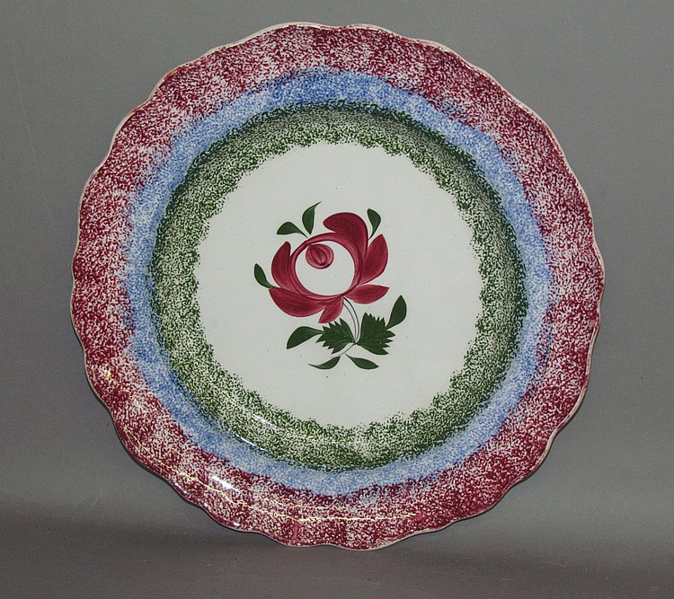 English earthenware rainbow spatter plate in Adams Rose motif