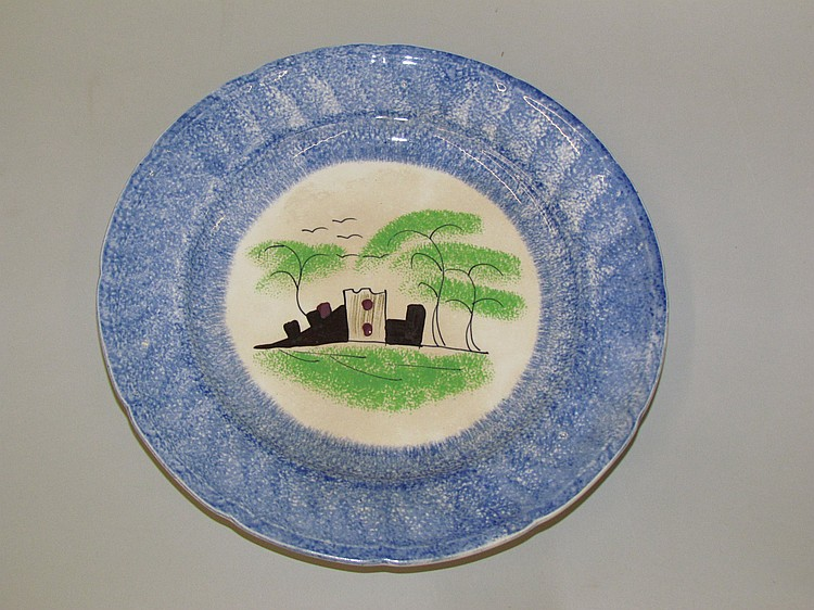 Enlgish ironstone blue spatter plate of a folly