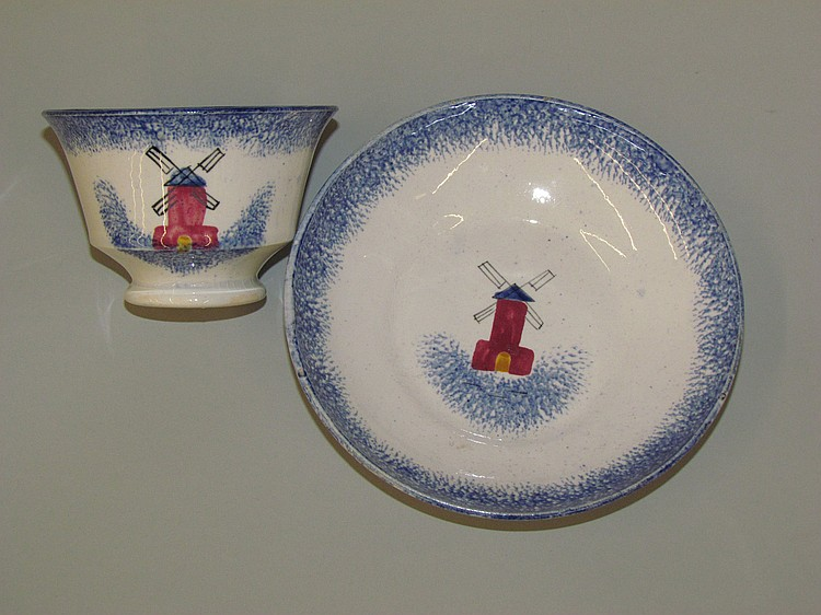 English earthenware blue spatter handleless cup & saucer