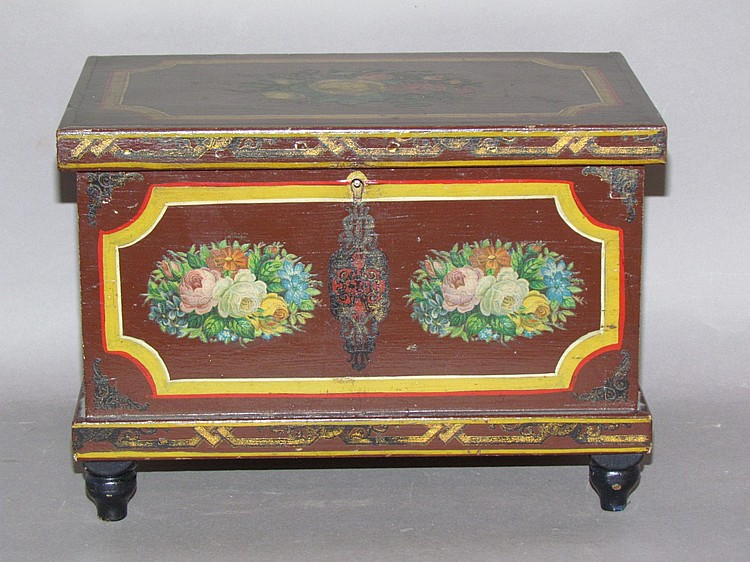 Miniature Lehnware paint decorated sewing chest