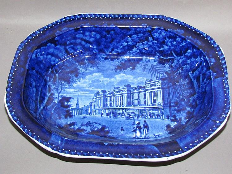English earthenware Historic Blue transfer open vegetable