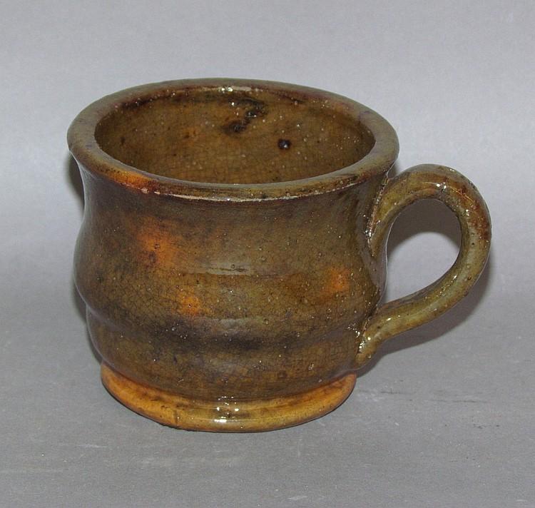 PA redware cup impressed Adam Weaber