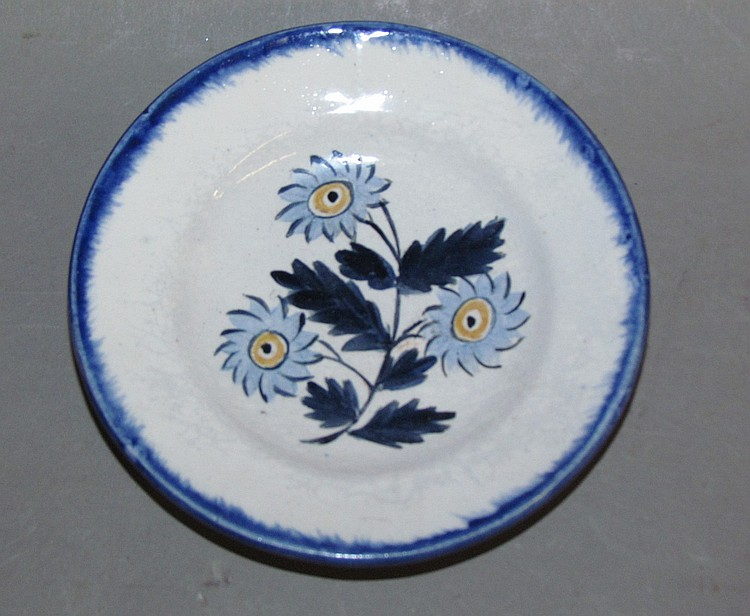 English pearlware blue edged cup plate