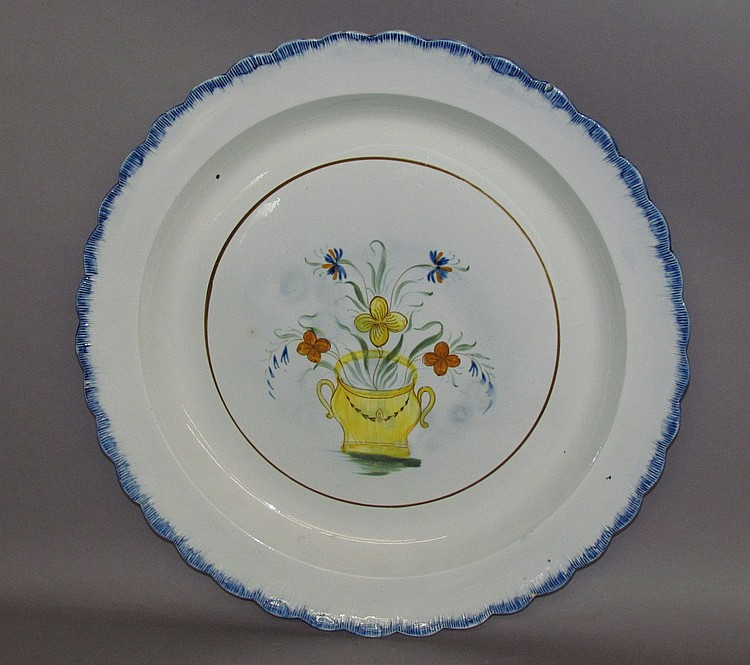 English pearlware blue shell edged charger
