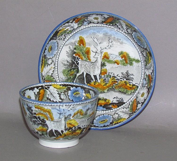 English pearlware polychromal Salopian handleless cup & saucer
