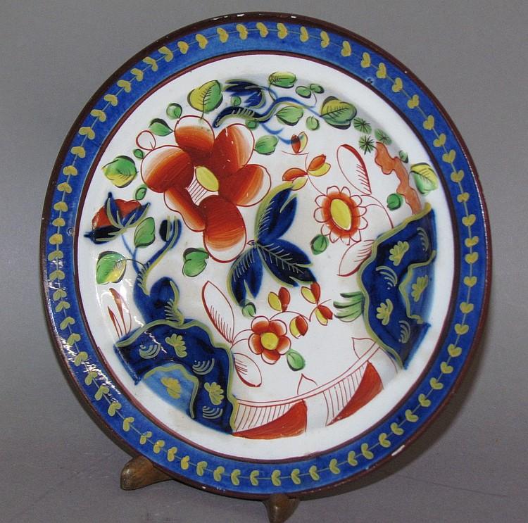 English pearlware Gaudy Dutch single rose small plate