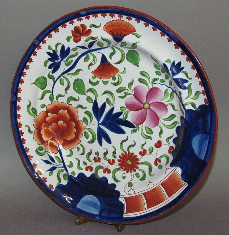 English pearlware Gaudy Dutch double rose plate