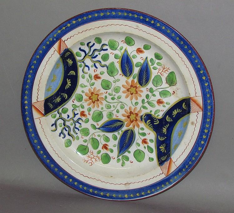 English pearlware Gaudy Dutch straw flower plate