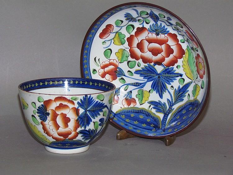 English pearlware Gaudy Dutch carnation handleless cup & saucer