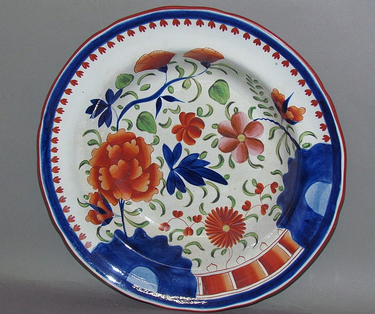 English pearlware Gaudy Dutch double rose deep dish