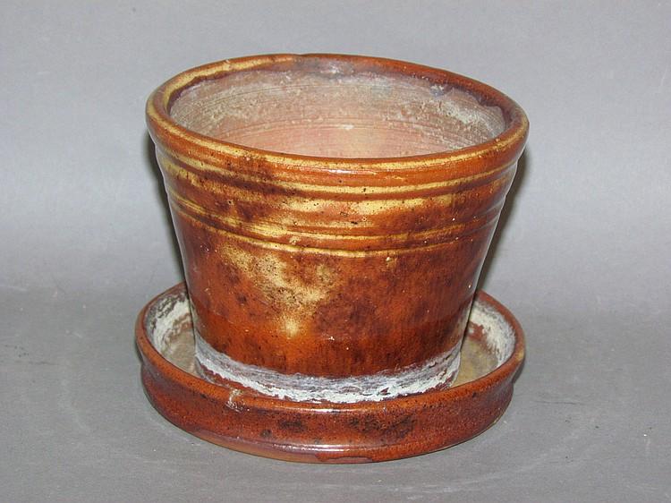 Small PA redware flower pot