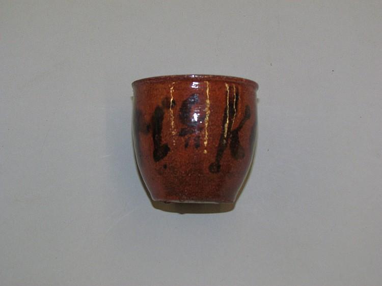 PA miniature redware crock with manganese legend