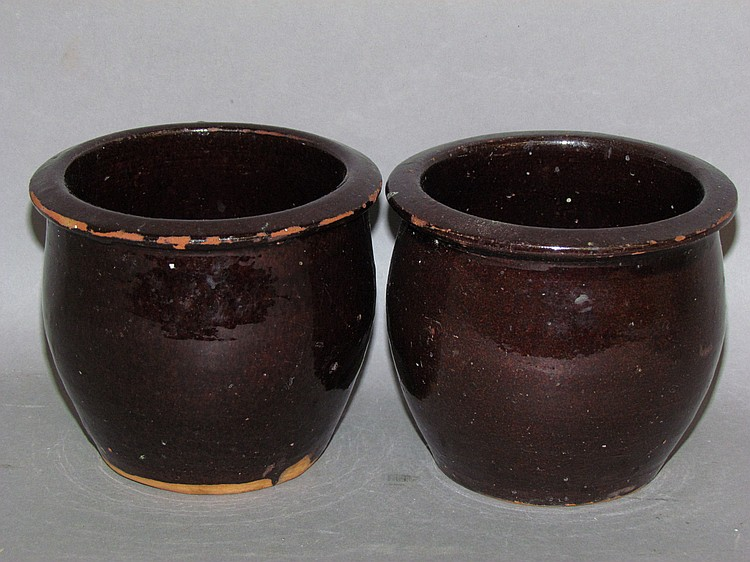 Pair of Christian Link PA redware jelly jars