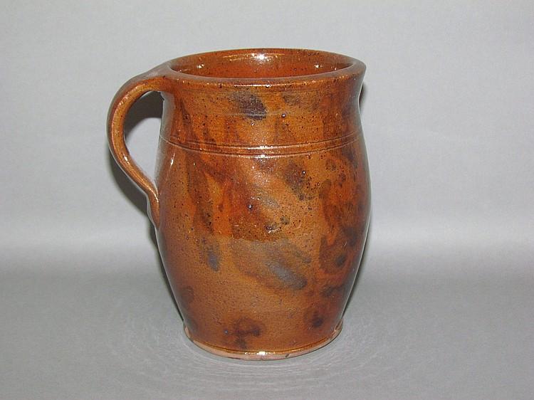 PA redware manganese sponged redware honey pot