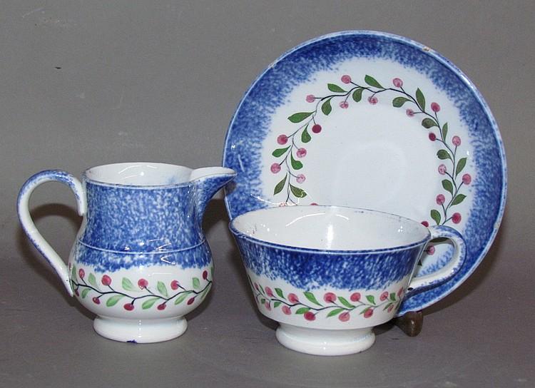 Blue spatter cup, saucer & creamer
