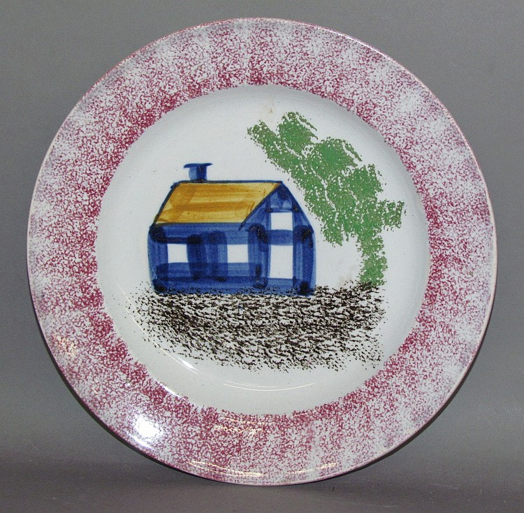 5 color schoolhouse spatter plate
