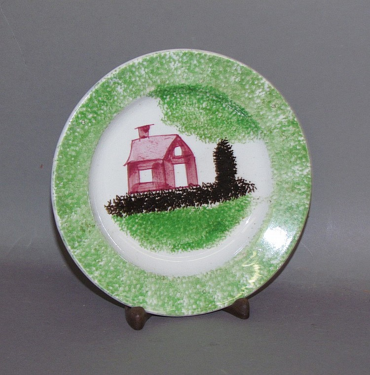 3 color schoolhouse spatter toddy plate