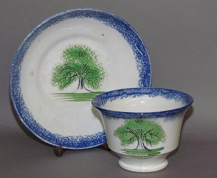 Blue spatter rim handleless cup & saucer