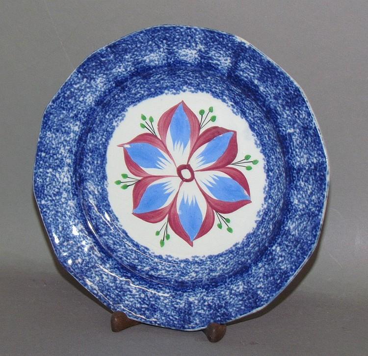 Blue spatter dahlia plate