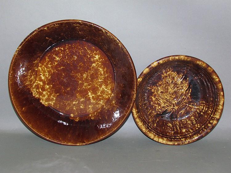 2 Rockingham glaze yellowware items