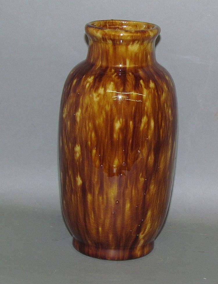 Rockingham glazed yellowware vase