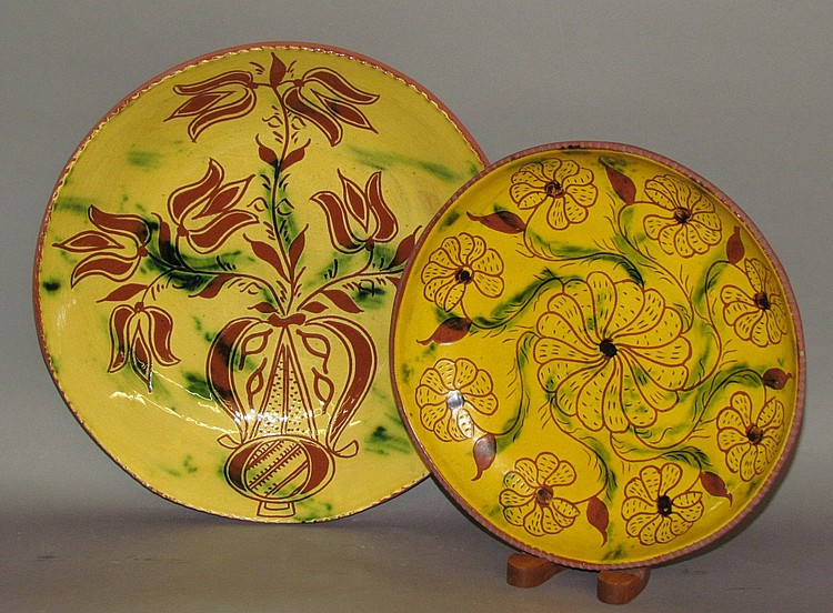 2 pieces of Breininger reproduction sgraffito redware