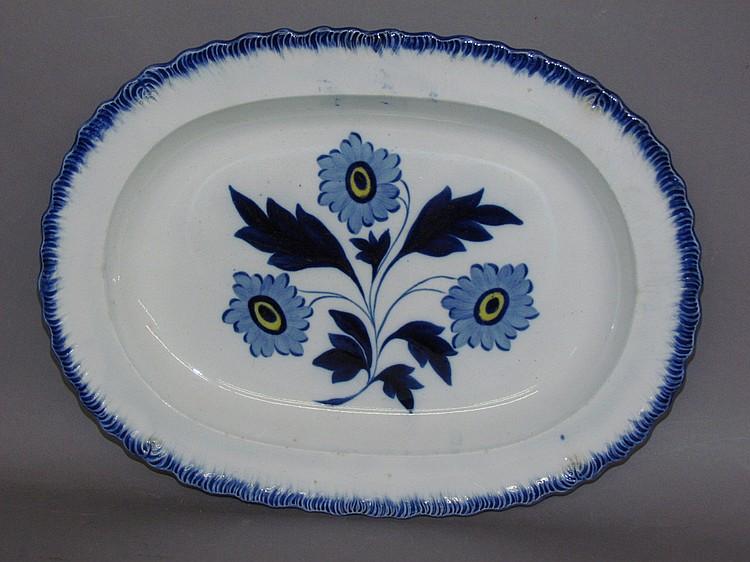 English pearlware blue shell edged platter