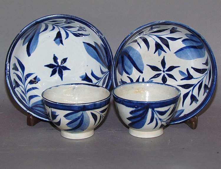 Pair of English pearlware child's handleless cups & saucers