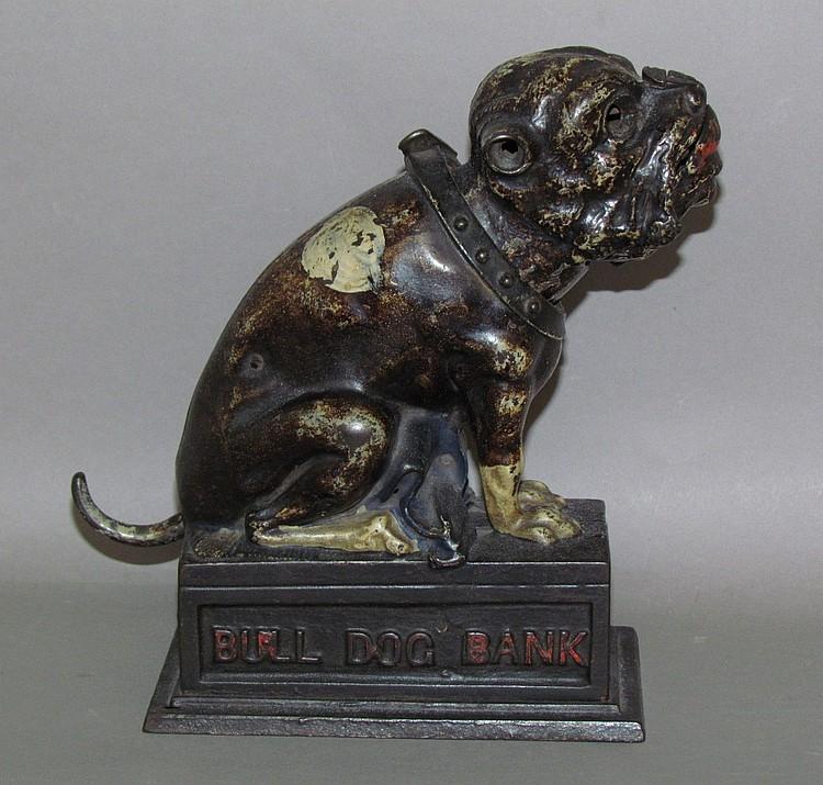 "Cast iron mechanical ""bulldog"" bank"