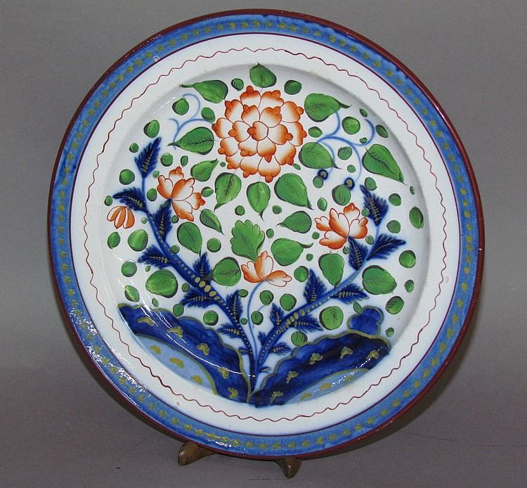 English pearlware Gaudy Dutch primrose plate